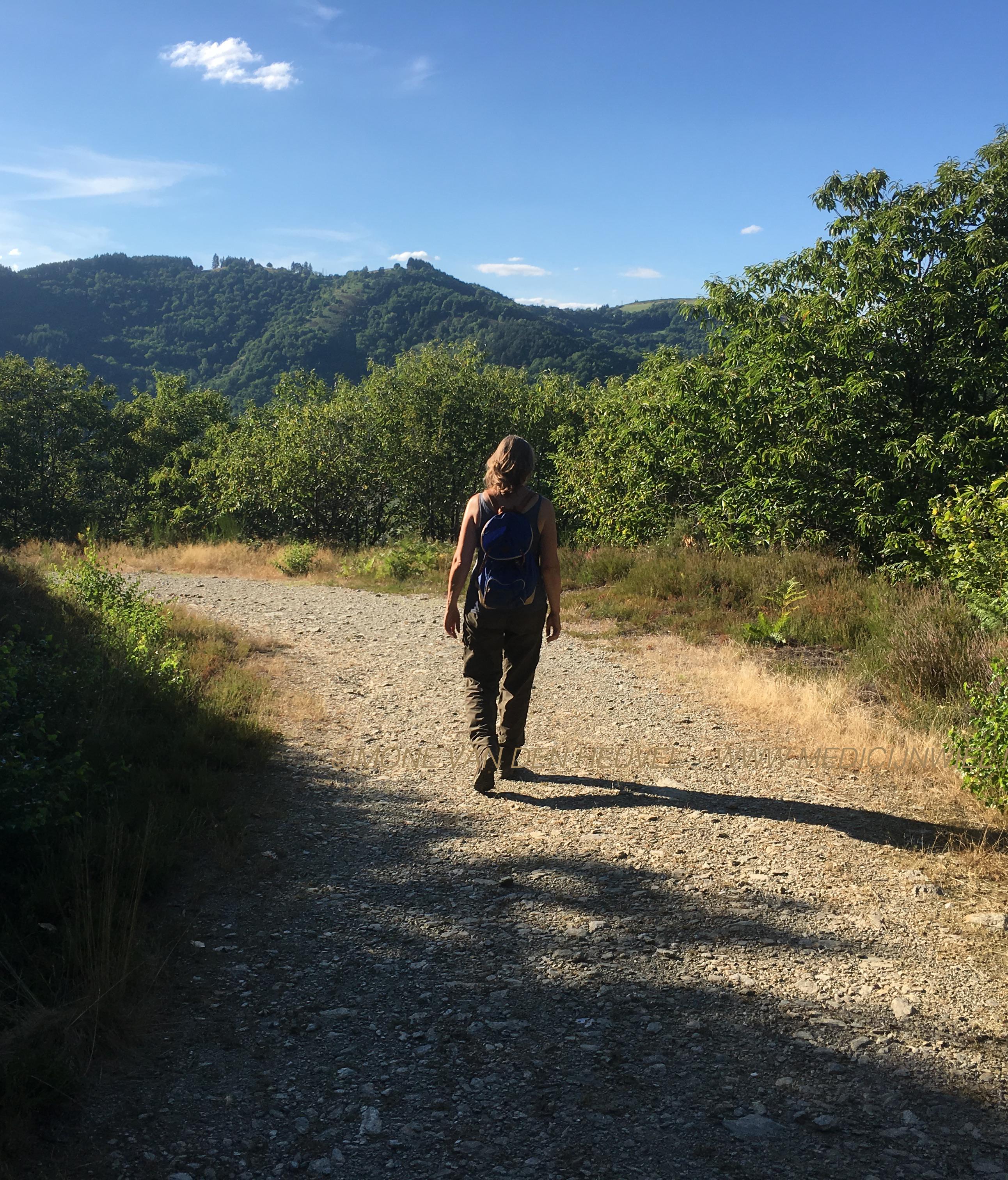 Simone van den Heuvel, geneeskundige therapeut, wandelt door de bergen